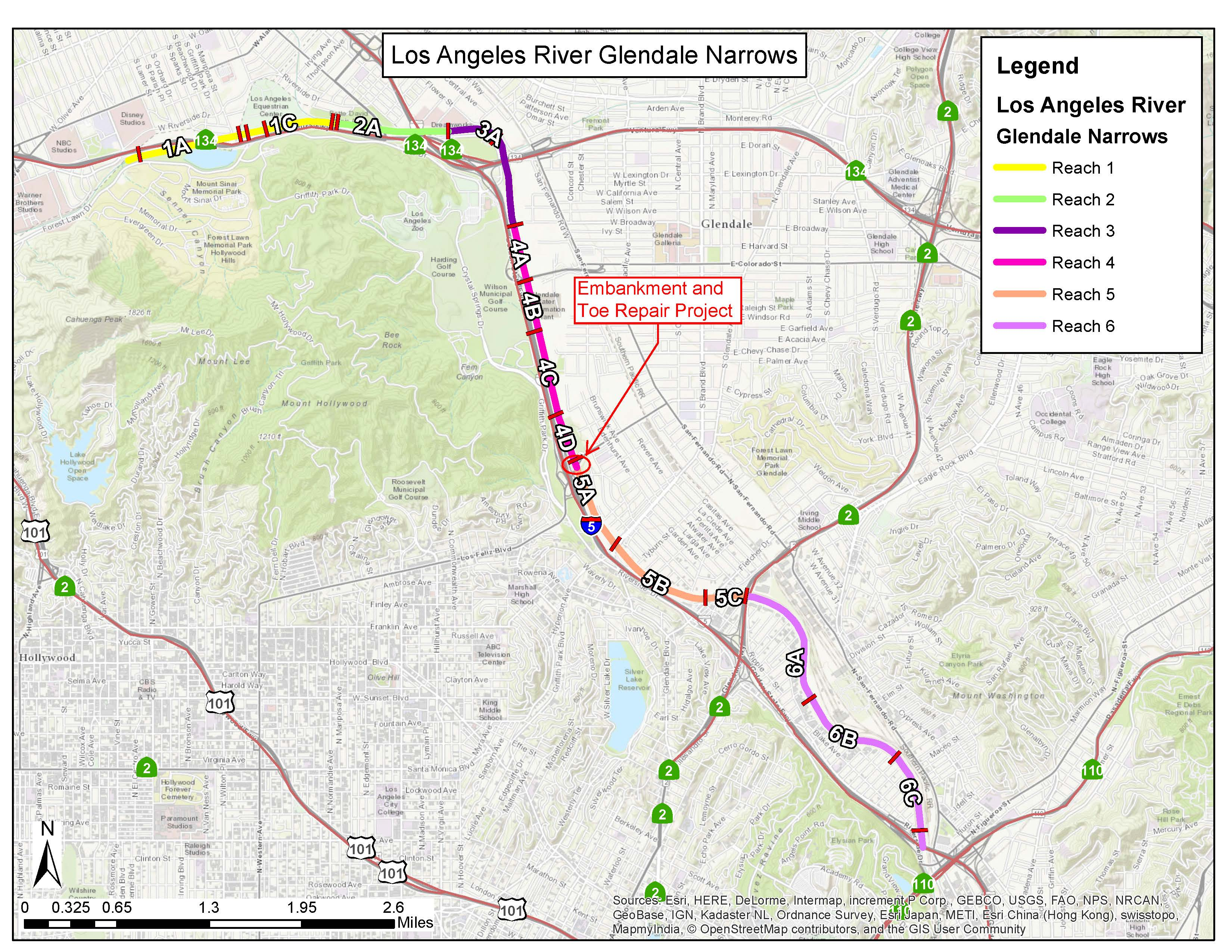 Los Angeles River Active And Upcoming Projects Los Angeles - Los angeles river map