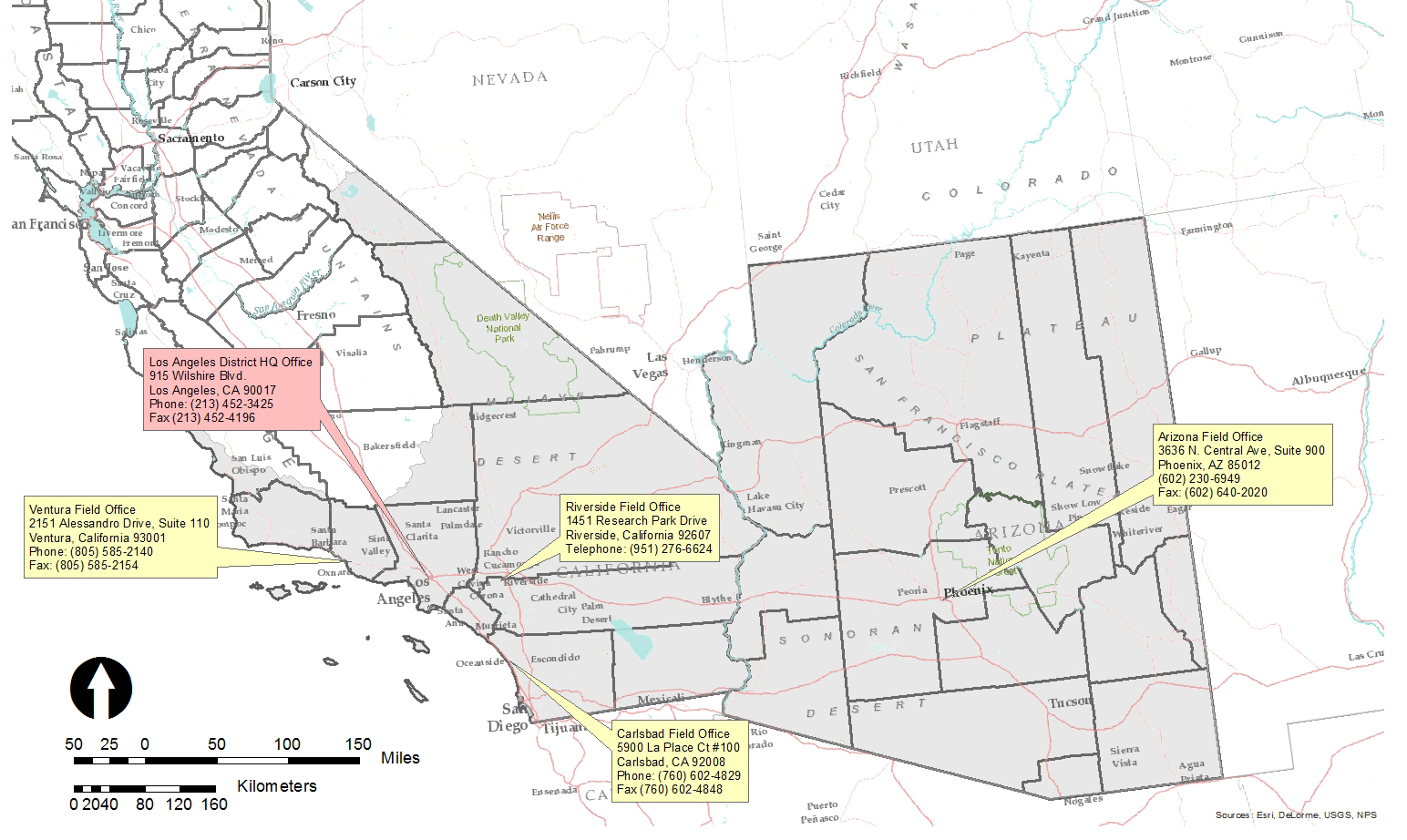 Map Of California Missions Locations.Los Angeles District Missions Regulatory District Boundaries Map