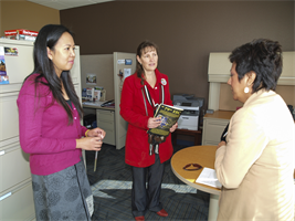 Jennie Ayala (right), the Los Angeles District outreach coordinator, speaks with Ann Nacino (left), 79th Sustainment Support Command Youth Services specialist and Sherry Rallis, 79th SSC Family Readiness community outreach assistant, during a tour of the new 53,000 square-foot headquarters facility at Joint Forces Training Base Los Alamitos, Calif., Jan. 12. They spoke about future collaboration on youth events and their facilities expanded capability. Rallis described the building as a beacon for the community, attracting family members of all services at JFTB.